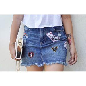 🌈Patched Denim Mini Skirt 🍭